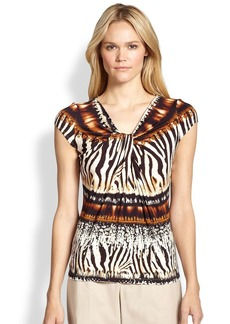 Lafayette 148 New York Cap-Sleeve Animal-Print Jersey Top