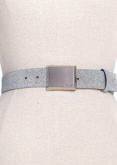 Calvin Klein Brushed Nickel Logo Plaque Belt