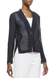 Elie Tahari Rebecca One-Button Linen Jacket, Navy Yard
