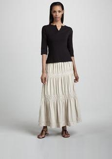 Joan Vass Lace-Trim Tiered Maxi Skirt, Women's