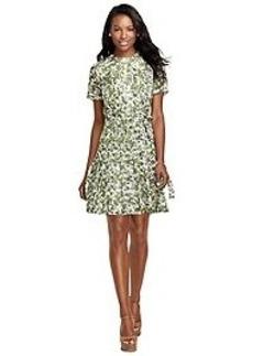 Silk Vine Print Dress