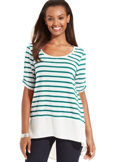 Style&co. Petite Striped High-Low Top