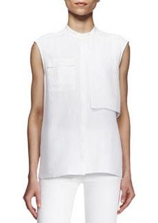 J Brand Ready to Wear Giles Sleeveless Flap-Panel Blouse