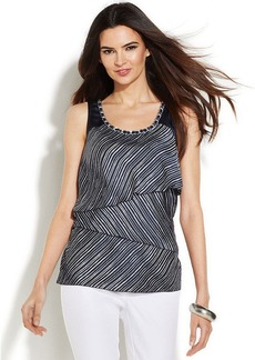 Alfani Petite Sleeveless Tiered Striped Top