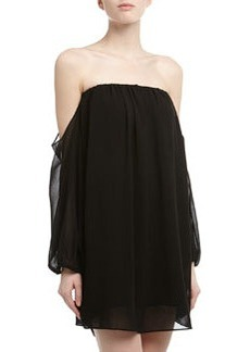T Bags Off-The-Shoulder Chiffon Shift Dress, Black
