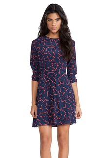 Shoshanna Pritzker Print Carla Dress in Navy