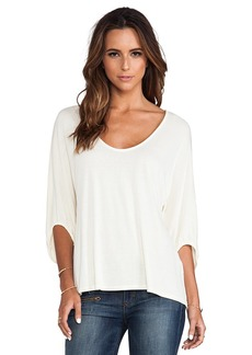 Michael Stars 3/4 Sleeve Swingy Cropped Top in Cream