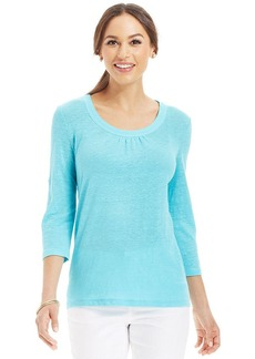 Charter Club Petite Three-Quarter-Sleeve Roll-Tab Linen Tee