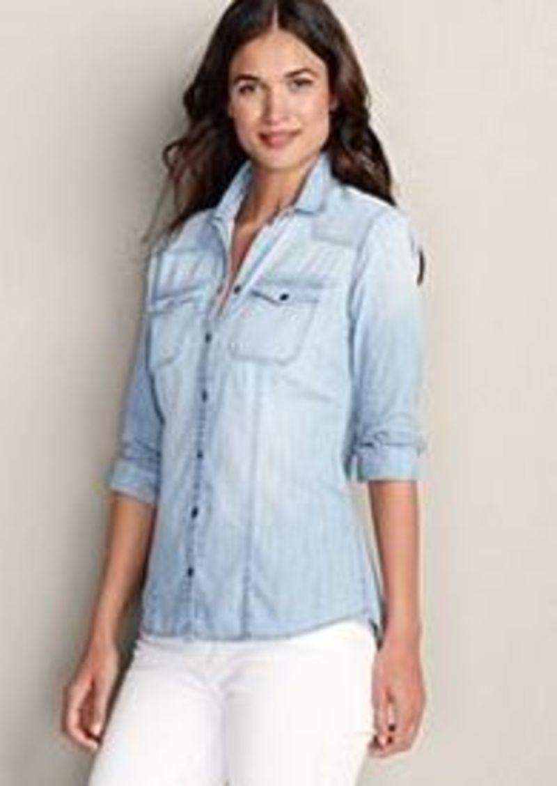 Eddie Bauer Women 39 S Long Sleeve Denim Shirt Casual
