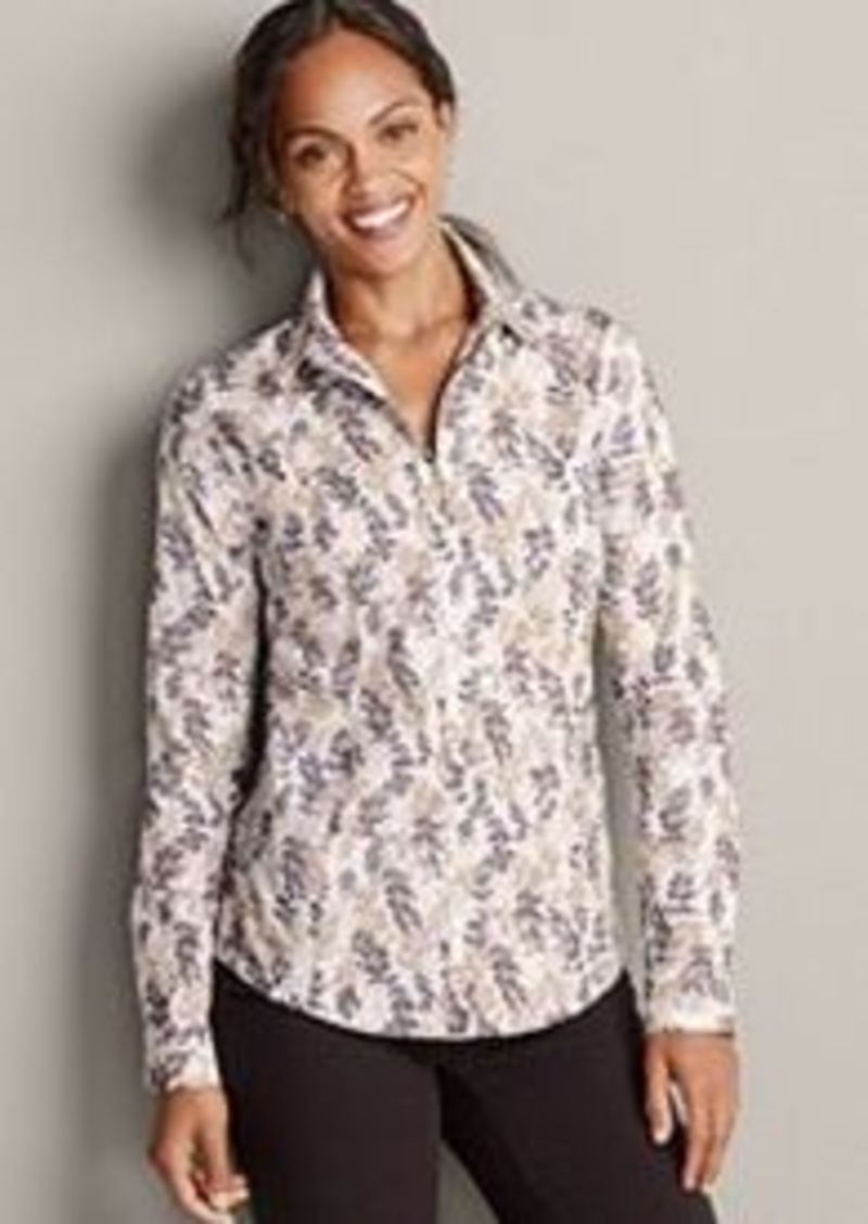 Women 39 s wrinkle free long sleeve shirt print Wrinkle free shirts for women