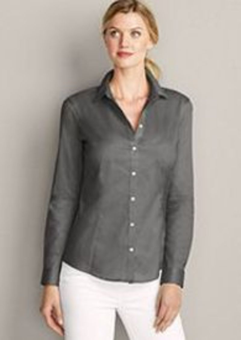 Eddie bauer women 39 s wrinkle free long sleeve shirt solid Wrinkle free shirts for women