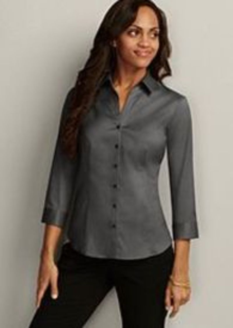 Women 39 s wrinkle free 3 4 sleeve shirt solid Wrinkle free shirts for women