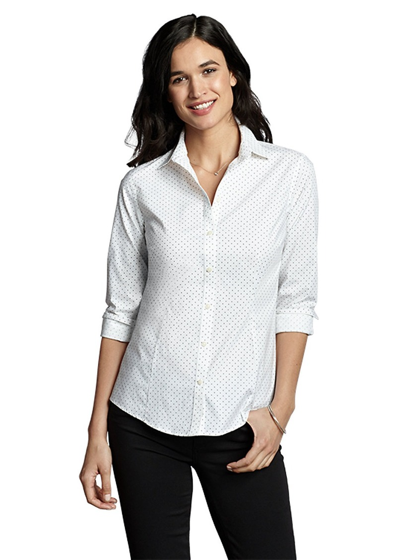 Eddie bauer women 39 s wrinkle free long sleeve shirt print Wrinkle free shirts for women