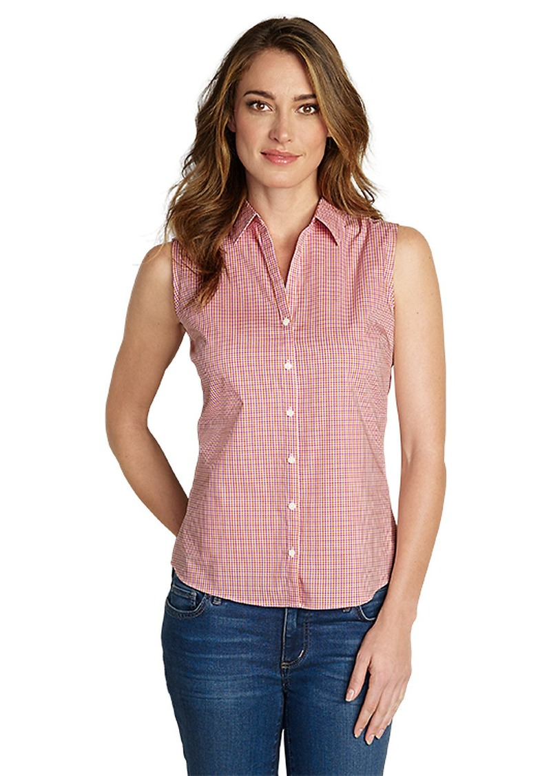 Eddie bauer women 39 s wrinkle free sleeveless shirt print Wrinkle free shirts for women