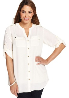 Charter Club Plus Size Three-Quarter-Sleeve Utility Tunic