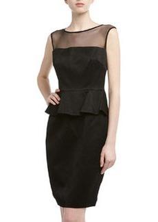David Meister Sleeveless Jacquard Peplum Cocktail Dress, Black