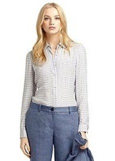 Silk Check Print Blouse