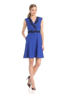 Ellen Tracy Women's Sleeveless Full-Skirt Applique Detail Dress