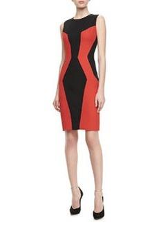 JASON WU Colorblock Paneled Fitted Sheath Dress