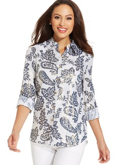Charter Club Petite Metallic Paisley-Print Button-Down Shirt