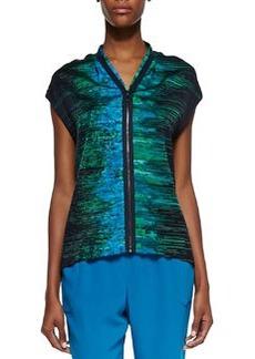 Elie Tahari Dallas Silk Iridescent Print Cap-Sleeve Blouse