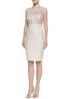 Kay Unger New York Lace Illusion-Neck Tweed Cocktail Dress