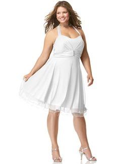 Ruby Rox Plus Size Halter Rhinestone-Pin Dress