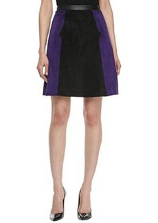 JASON WU Colorblock Suede A-line Skirt, Violet/Black