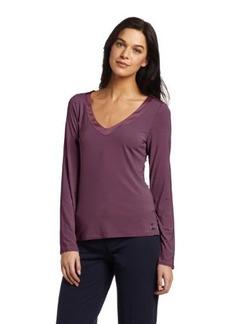 Calvin Klein Women's Essentials With Satin Long Sleeve V-Neck Top