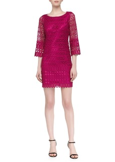Laundry by Shelli Segal Mixed Venice Lace Shift Dress, Ultra Berry
