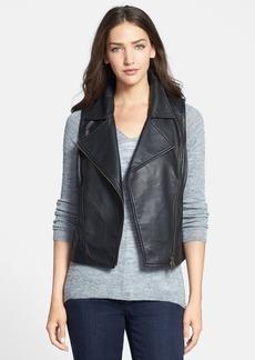 Eileen Fisher Asymmetrical Zip Leather Moto Vest