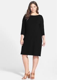 Eileen Fisher Ballet Neck Jersey Shift Dress (Plus Size)