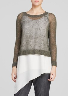 Eileen Fisher Ballet Neck Open Knit Sweater