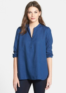 Eileen Fisher Band Collar Organic Linen Tunic