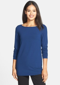 Eileen Fisher Bateau Neck Long Jersey Top (Regular & Petite)