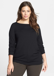 Eileen Fisher Bateau Neck Long Slim Jersey Top (Plus Size)