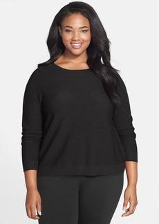 Eileen Fisher Bateau Neck Merino Boxy Sweater (Plus Size)