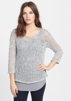 Eileen Fisher Bateau Neck Open Stitch Sweater (Regular & Petite)