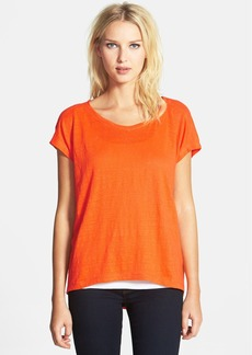 Eileen Fisher Bateau Neck Organic Linen High/Low Top