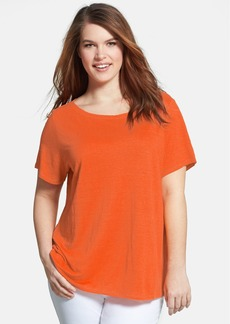 Eileen Fisher Bateau Neck Organic Linen Top (Plus Size)