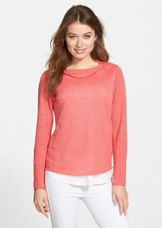 Eileen Fisher Bateau Neck Slubbed Organic Linen Sweater (Regular & Petite) (Online Only)