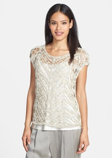 Eileen Fisher Brushstroke Satin Ballet Neck Tape Yarn Top