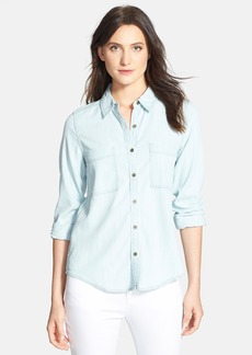 Eileen Fisher Classic Collar Denim Chambray Shirt (Regular & Petite)