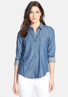 Eileen Fisher Classic Collar Denim Chambray Shirt (Regular & Petite)