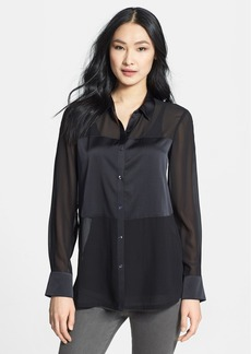 Eileen Fisher Classic Collar Long Silk Shirt (Petite)