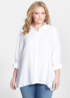 Eileen Fisher Classic Collar Organic Linen Shirt (Plus Size)