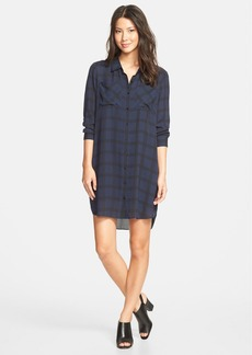 Eileen Fisher Classic Collar Plaid Silk Shirtdress
