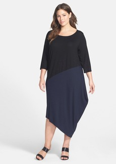 Eileen Fisher Colorblock Scoop Neck Jersey Dress (Plus Size)