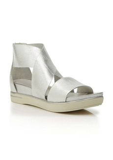 Eileen Fisher Cross Strap Flat Sandals - Metallic Sport