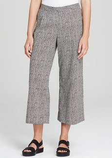 Eileen Fisher Dot Print Cropped Wide Leg Pants